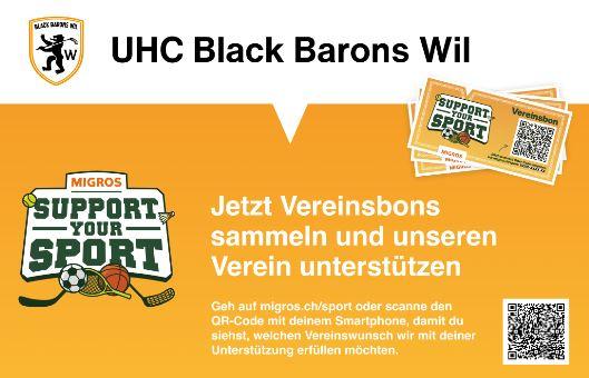 «Support Your Sport»: Spenden Sie Ihre Einkaufsmarken für den UHC Black Barons Wil